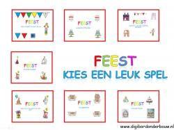 Digibordles Feest: kies een leuk spel.  7 verschillende spelletjes http://digibordonderbouw.nl/index.php/themas/feest/feestdigibordlessen