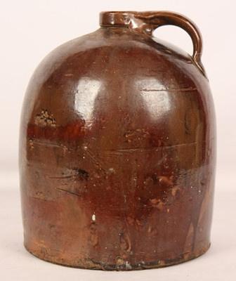 nice shape/ Antique American Pottery Old Moonshine Jug Brown Glass Glaze Folk Art Crock Xint | eBay