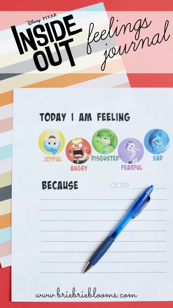 Free Printable Inside Out Feelings Journal Child Family