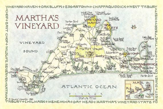 Martha's Vineyard Map 12x18 by NeoClassicalMaps on Etsy, $28.00
