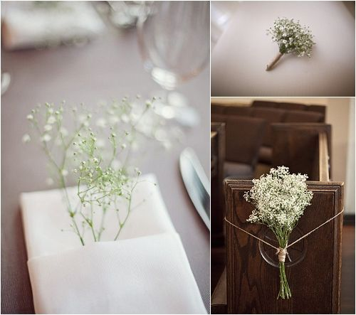 babies breath pew arrangements | baby's breath wedding pew arrangements... add lavendar?? | Wedding