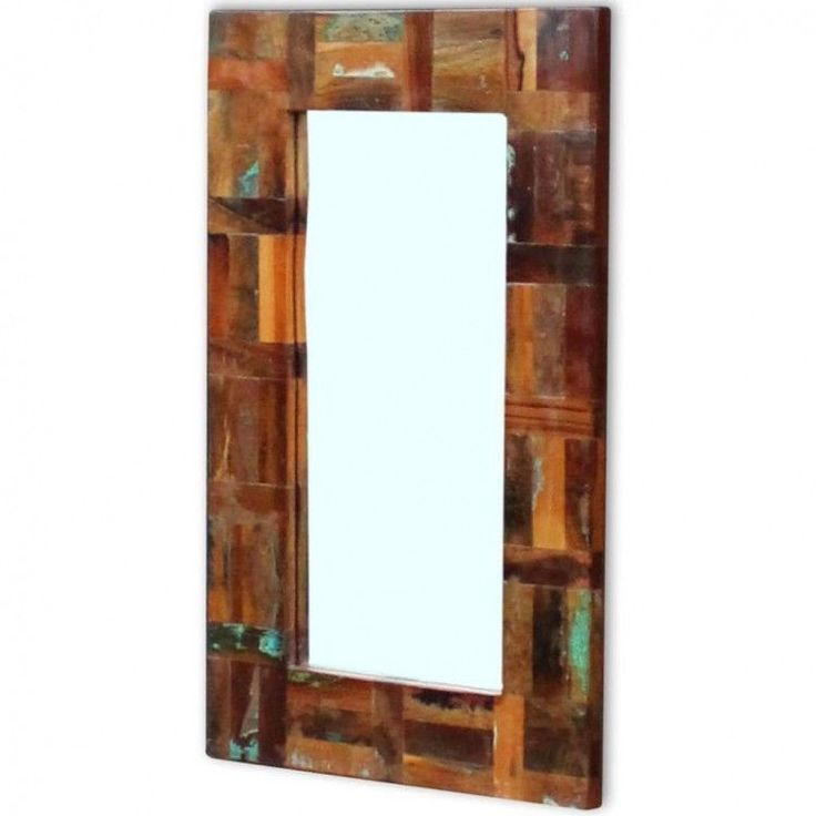 Details about Wooden Frame Bathroom Mirror Handmade Makeup Looking Glass Home Decorative
