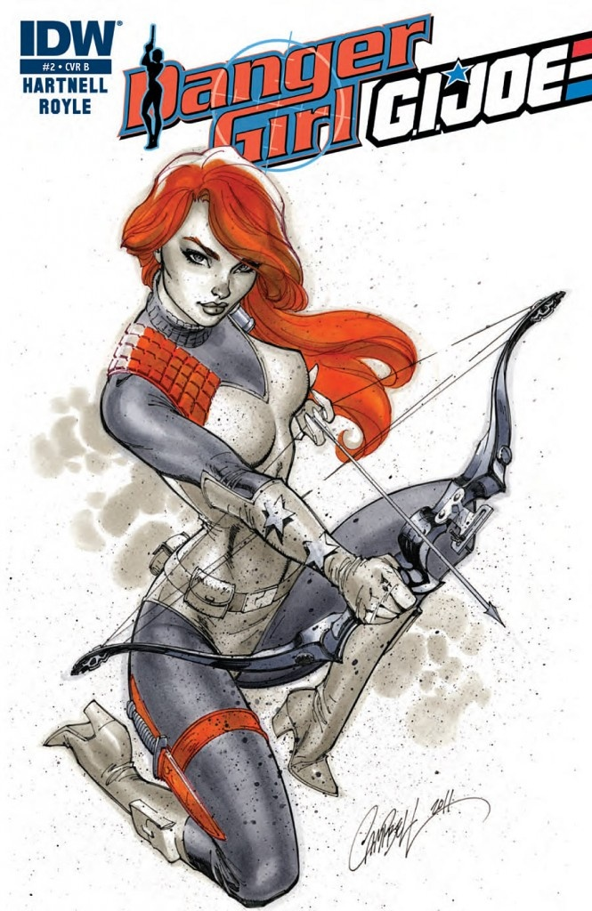 Danger Girl/G.I. Joe #2 (2012) / Cover artist: J. Scott Campbell / Scarlett flexes her compound bow. Great character in a great pose. Amazing lines and I love the way the water-colour paint style adds texture.