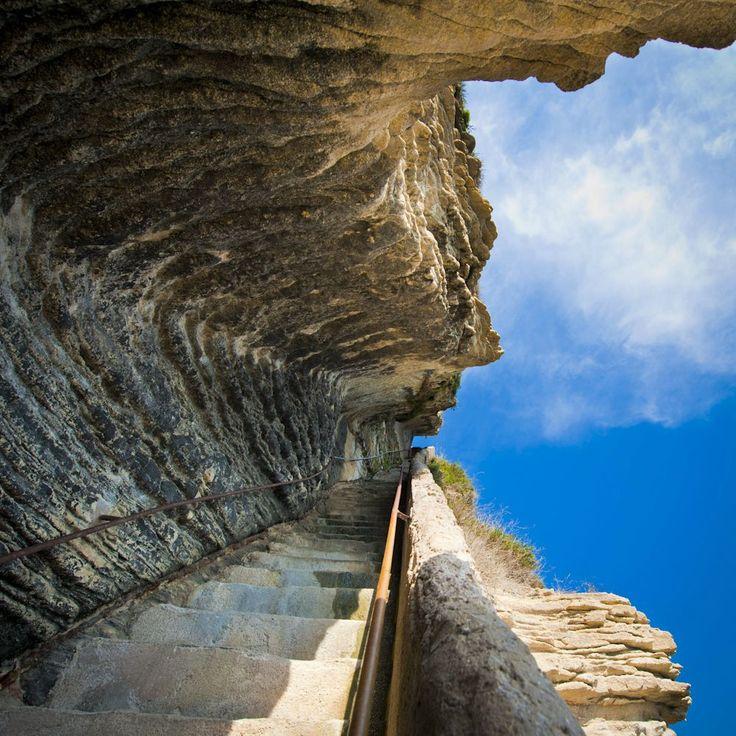 King Aragon's Stairs, Bonifacio, Corsica, France  Falling upwards