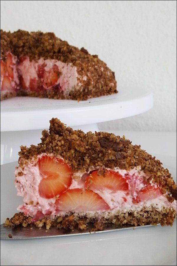 Lowcarb Maulwurfkuchen mit Erdbeeren