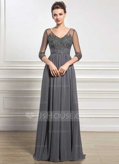 A-Line/Princess V-neck Floor-Length Chiffon Tulle Mother of the Bride Dress With Ruffle Beading Appliques Lace Sequins (008056889)