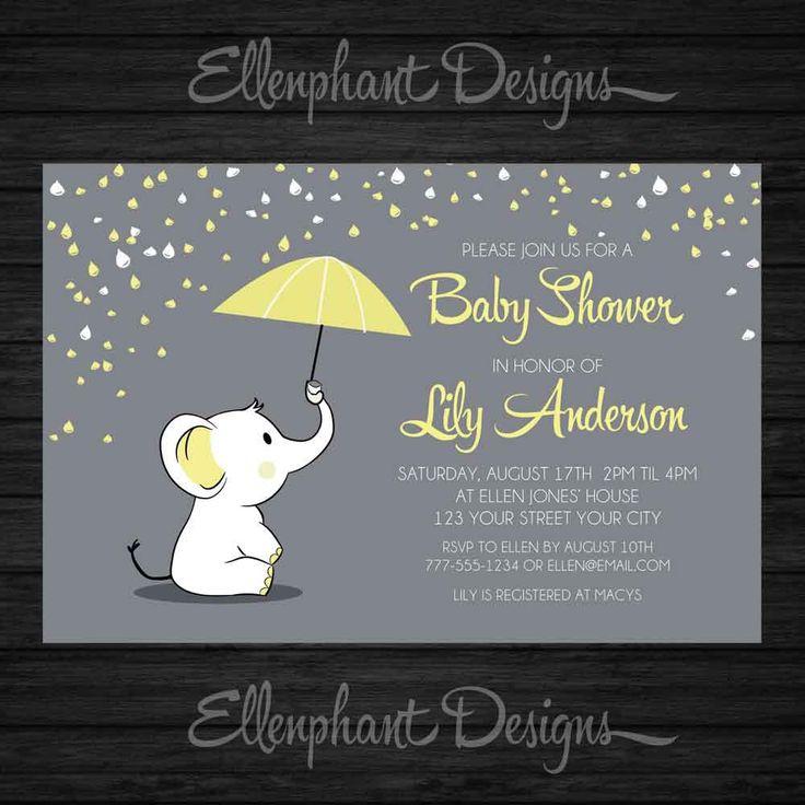 Yellow elephant Baby Shower Invitation, umbrella, rain, baby sprinkle, unisex, baby elephant, gray, custom invite, digital file, you print by ellenphant on Etsy https://www.etsy.com/listing/238148694/yellow-elephant-baby-shower-invitation