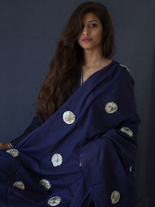 Blue Cotton Gota Work Dupatta