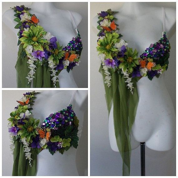 Fairy Top Rave Bra Flowers Green Fabric by RevoltCouture on Etsy