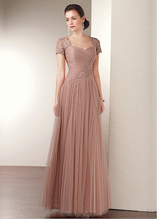 A Line Princess Sweetheart Floor Length Tulle Mother Of The Bride Dress With Beading Liques Lace