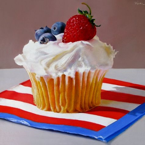 Red, White and Blue Cupcake, painting by artist Oriana Kacicek