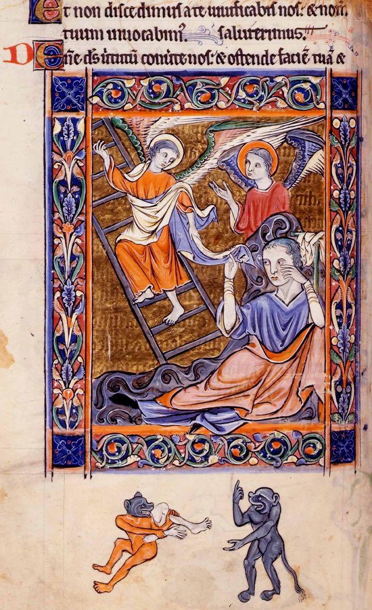 Rutland Psalter.  Jacob's dream.  13th century British Library Additional 62925, image 744..