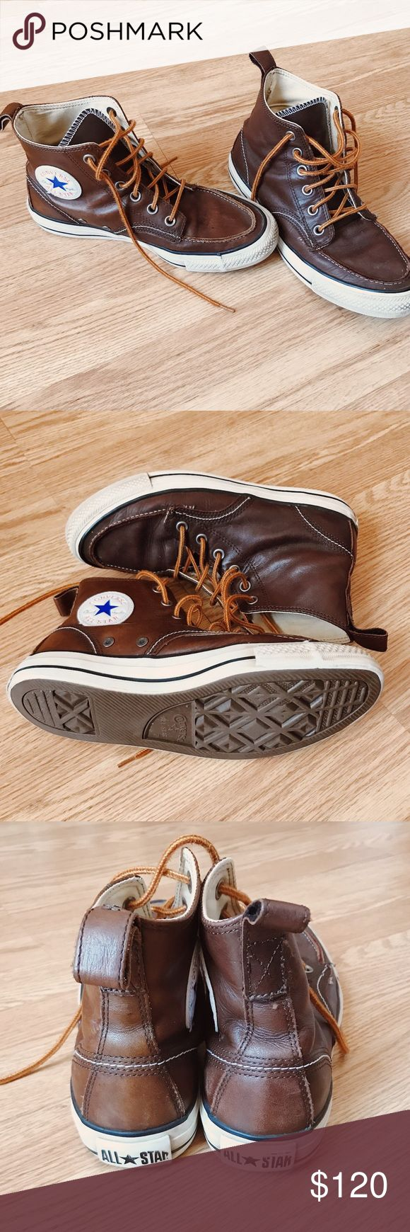 Seasoned Real Leather Boat Style Converse Unisex Leather Converse, boat shoe style. Sprayed with waterproof protection. Leather has been cleaned and oiled once. Original shoe laces. Rare Converse, absolutely in love with them. These shoes will last forever! Converse Shoes Winter & Rain Boots