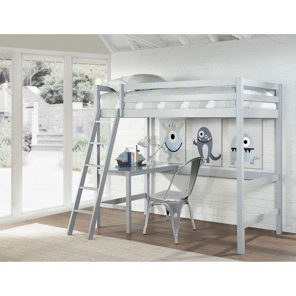 Copper Grove Camberg Grey Twin Study Loft Twin Loft Bed Loft Bed Hillsdale Furniture