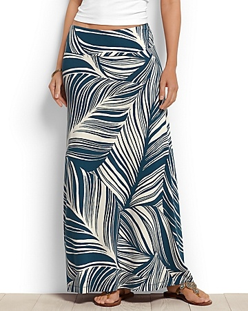 Tommy Bahama Tambour Banana Leaves Maxi Skirt