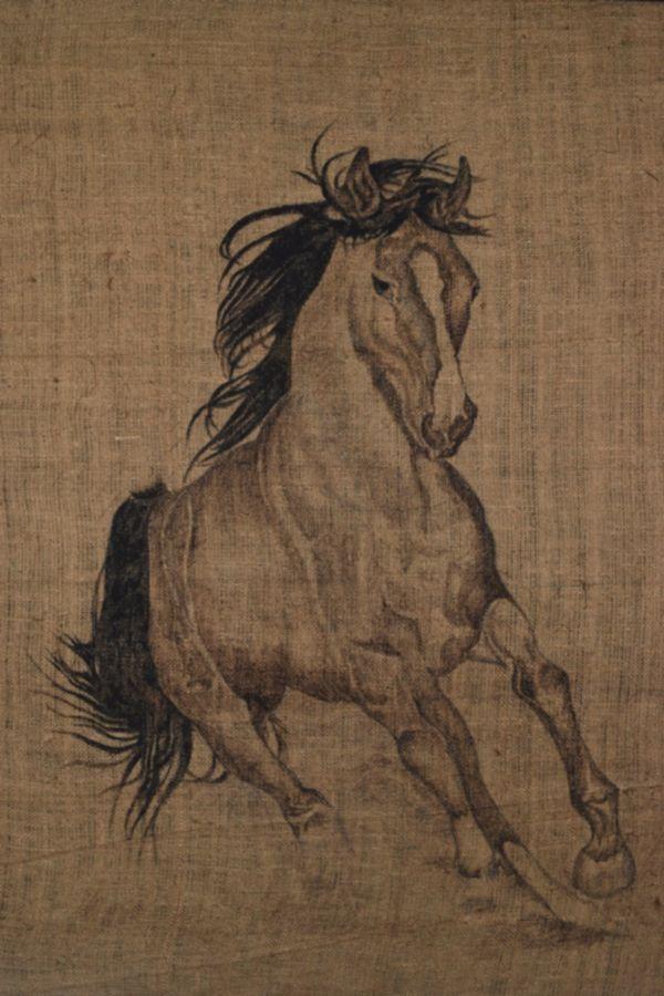 HIRAN PATIKIRIARACHCHI -RUNNING HORSE,  2012, Mixed media on gunny material, 81 x 112 cm