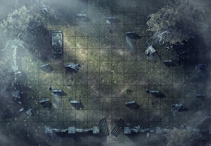 Graveyard, a printable and online battle map for Dungeons and Dragons / D&D, Pathfinder and other tabletop RPGs. Tags: ruins, lost, undead, spiders, fog, web, horror, encounter, point defense, stones, crypt, print, tomb, grave, cemetery, roll20, fantasy grounds