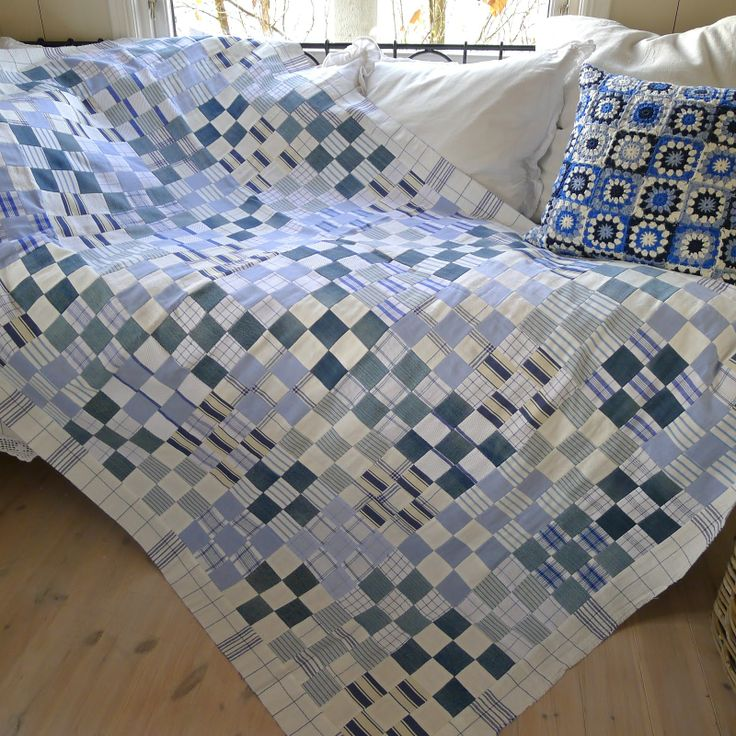 """Denim scrap quilt by Mia in Norway: """"Like most quilters I find it difficult to resist pretty fabrics. A quilts store being like a candy store for a quilter. Yet for some reason I get more pleasure out of 'making something out of nothing'. A bit like 'making a silk purse out of a sow's ear'.In this case the sow's ear being old jeans and shirts, worn out and faded old cushion covers (even a loose cover for a chair), and snippets of tea towels and linen fabrics. Hardly a new fabric in sight."""""""