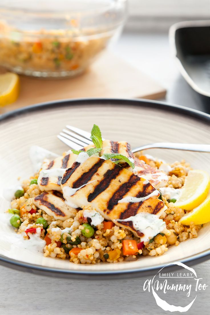Grilled halloumi vegetable couscous with a yoghurt mint dressing. #PowerofFrozen #sp
