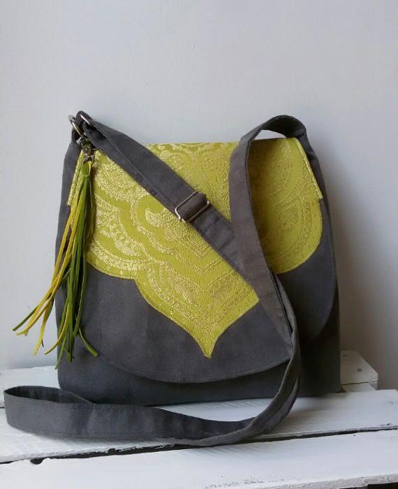 Gray oriental messenger bag Vegan crossbody bag Medium size bag Spring fashion bag Boho chic bag Sling crossbody Hippie bag Oriental fabric