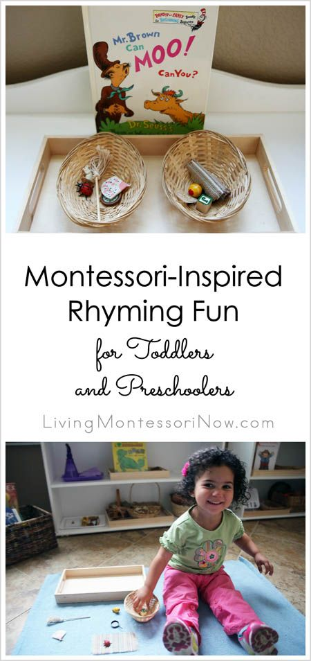 Simple-to-prepare and fun Montessori-inspired rhyming activity for toddlers and preschoolers inspired by a tip from the book Raising a Rock-Star Reader; works well with Dr. Seuss books.