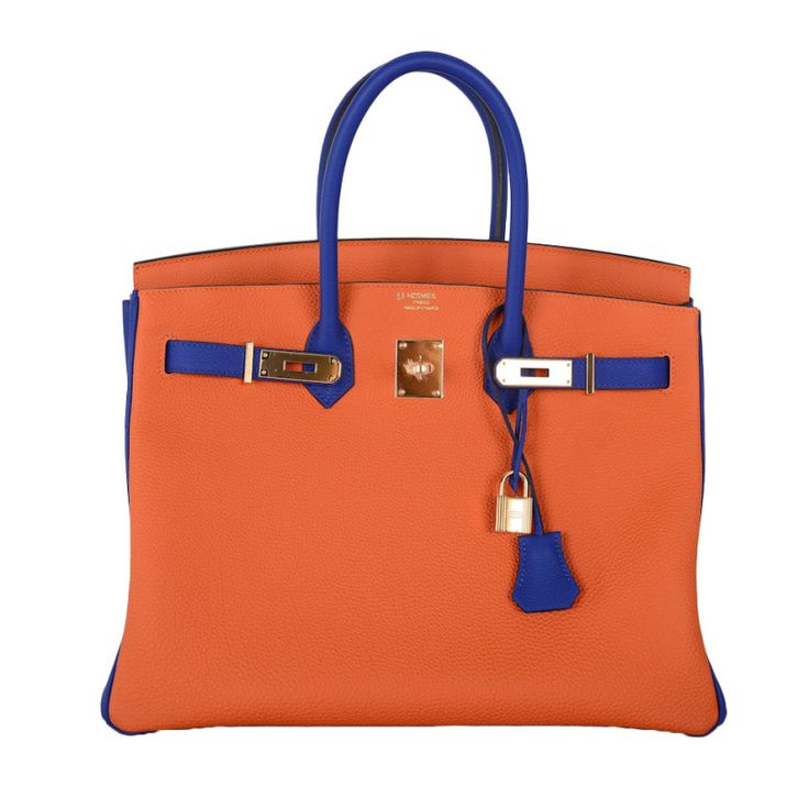 SPECIAL ORDER HSS HERMES 35cm BIRKIN BAG ORANGE W BLUE ELECTRIC BI ...