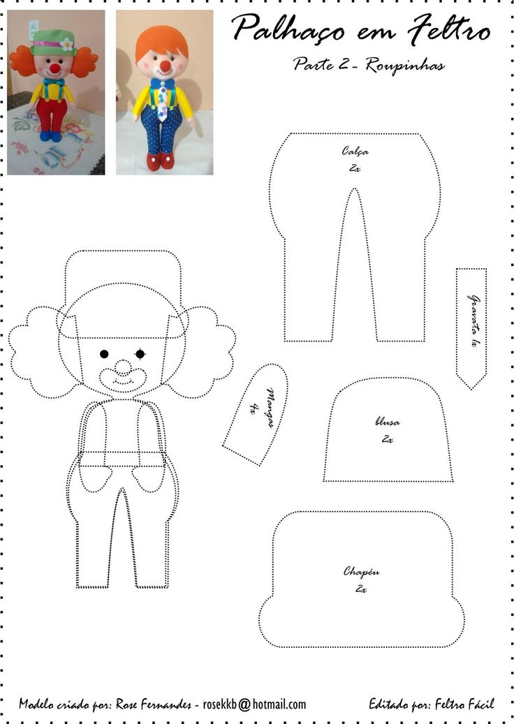 DIY Cute Felt Clown - FREE Pattern / Template