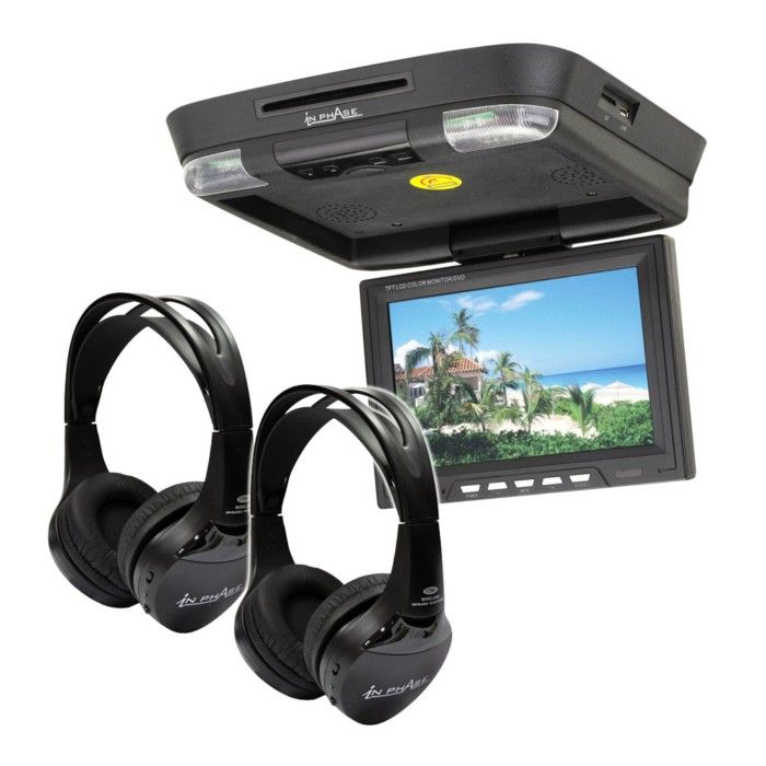 In Phase IVR11 Roof Mount Rear entertainment system with 2 x In Phase IVMH Headphones - Car Audio Centre