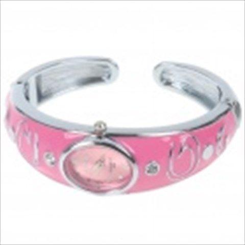 Stylish Bracelet Band Wrist Watch - Pink + Silver