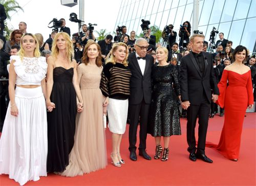 "Lambert Wilson, Juliette Binoche, Celine Sallette, Gregoire Leprince-Ringuet, Catherine Deneuve, Isabelle Huppert, Sandrine Kiberlain, Andre Techine, Emmanuelle Beart and Elodie Bouchez attend the ""The Killing Of A Sacred Deer"" screening during the 70th annual Cannes Film Festival at Palais des Festivals on May 22, 2017 in Cannes, France."
