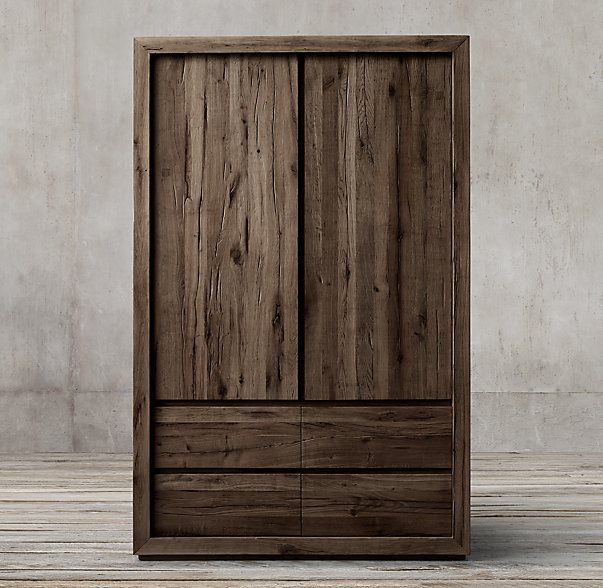 Reclaimed Russian Oak Armoire Wardrobe Armoire
