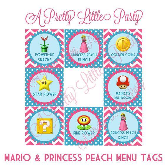 Princess Peach & Mario Menu Tags - Super Mario - Princess Peach - Party Supplies - INSTANT DOWNLOAD via Etsy