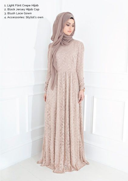 Hijabi - lace dress - taupe hijab