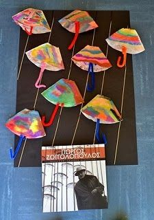 Paraplu knutselen van een koffiefilter, thema regen