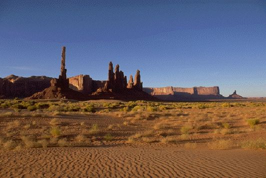 desert view with spires Monument Valley