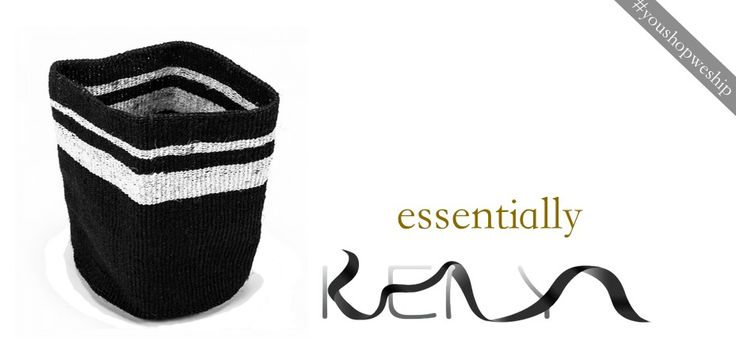 #blackandwhite sisal basket. 35x30 cm, #handmade in Kenya. Found in #Nairobi and instantly selected for you.  http://near-and-far.com/en/shop-by-product/18-white-band-basket.html