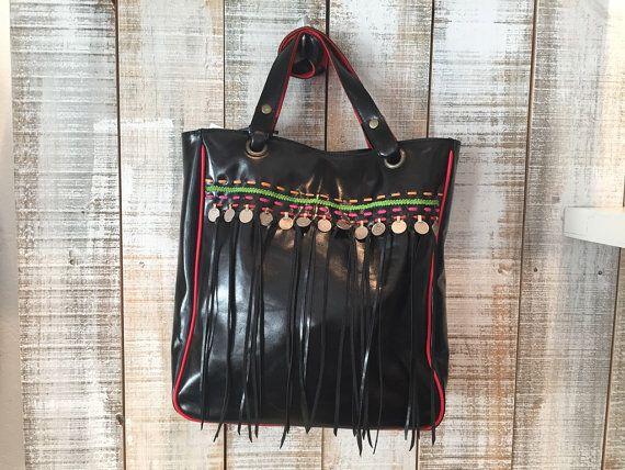 Black tote bag leather shopper bag black letather bag by Percibal