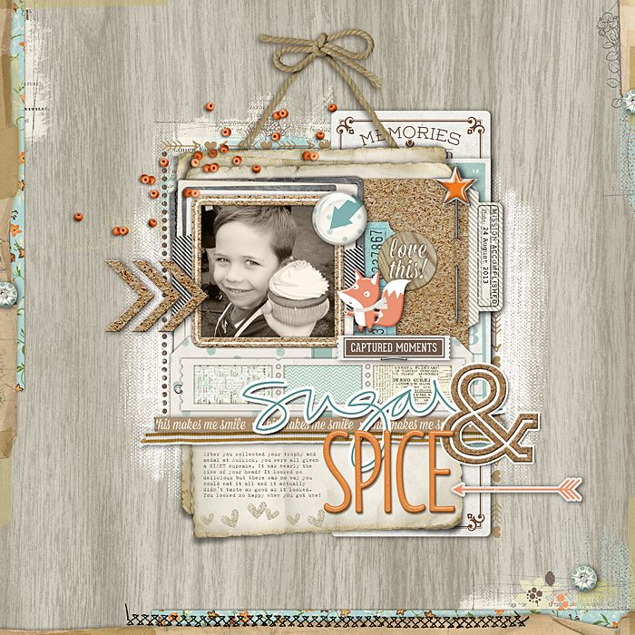 #papercraft #scrapbook #layout adorable scrapbook page from Jenelle at DesignerDigitals.com the fox is such a cute accent here!