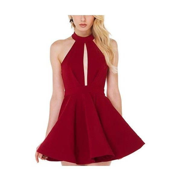 Red Vintage High-Waist Chiffon Skater Dress-DR0310007-2 ($21) ❤ liked on Polyvore featuring dresses, red, red vintage dress, red dress, cut out dress, sexy dresses and vintage dresses
