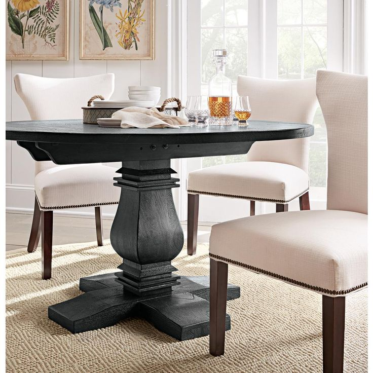 Home Decorators Collection Aldridge 31 in. L Round Rustic Dining Table in Washed Black-1673100910 - The Home Depot