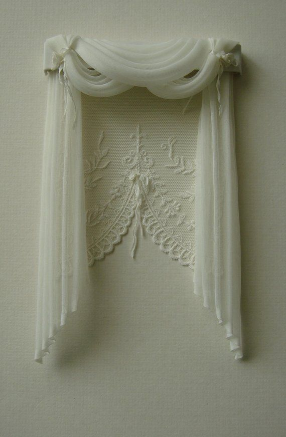 White Curtains On A White Pole Dolls House Miniatures 1.12 Scale Curtain