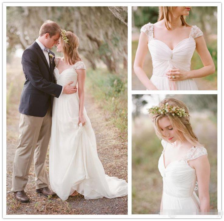 Купить товарНа заказ 2015 весна лето в стиле кантри белый шифон свадебное платье для свадебного наряда свадебные платья с кружевом с коротким рукавом в категории Свадебные платьяна AliExpress.           Это платье на заказ по вашему запросу.  Нам необходимо от 10 до 15 дней, чтобы подготовить платье