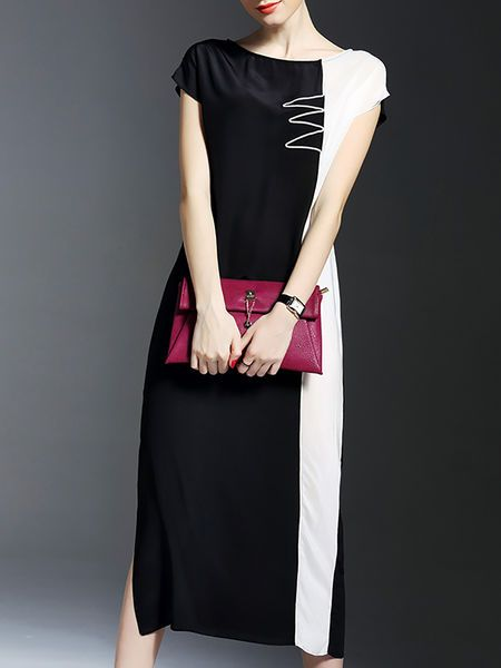 Color-block Slit Silk #Midi #Dress