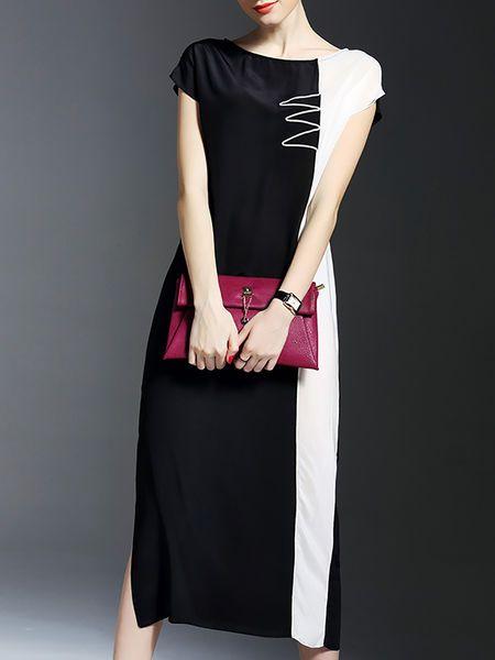 Color-block Slit Silk #Midi #Dress