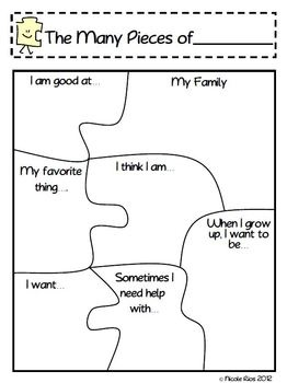 "This activity is included with 5 other great Back-To-School activities in my ""Getting to Know You Activities Pack"". - available in my store.  This file includes:  * 2 ""The Many Pieces of Me"" puzzle templates  * 1 blank guide template (to help little ones put puzzles back together)  * Two activity suggestions for Back-To-School"