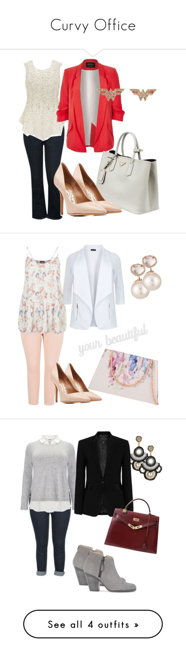 Curvy Office by lynetteamaro on Polyvore featuring polyvore fashion style M&Co River Island Prada Salvatore Ferragamo clothing contestentry ContestOnTheGo Melissa McCarthy Seven7 Samira 13 Ted Baker PBteen plus size clothing Studio 8 rag & bone Hermès City Chic LE3NO Lime Crime 3.1 Phillip Lim Kate Spade