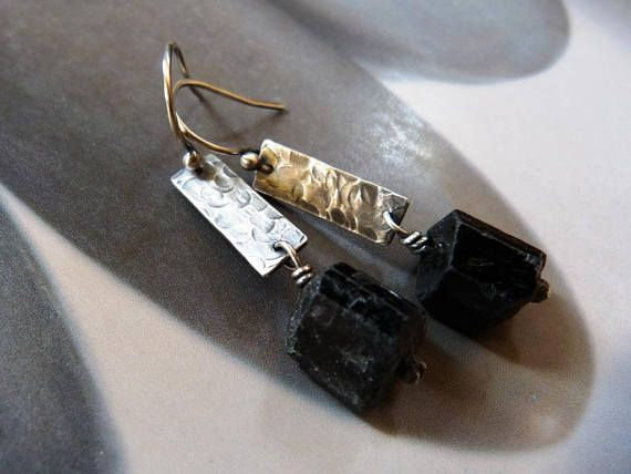 Black tourmaline silver earrings rustic dangles 40th