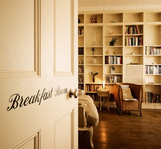 Great incorporation of library and breakfast room....
