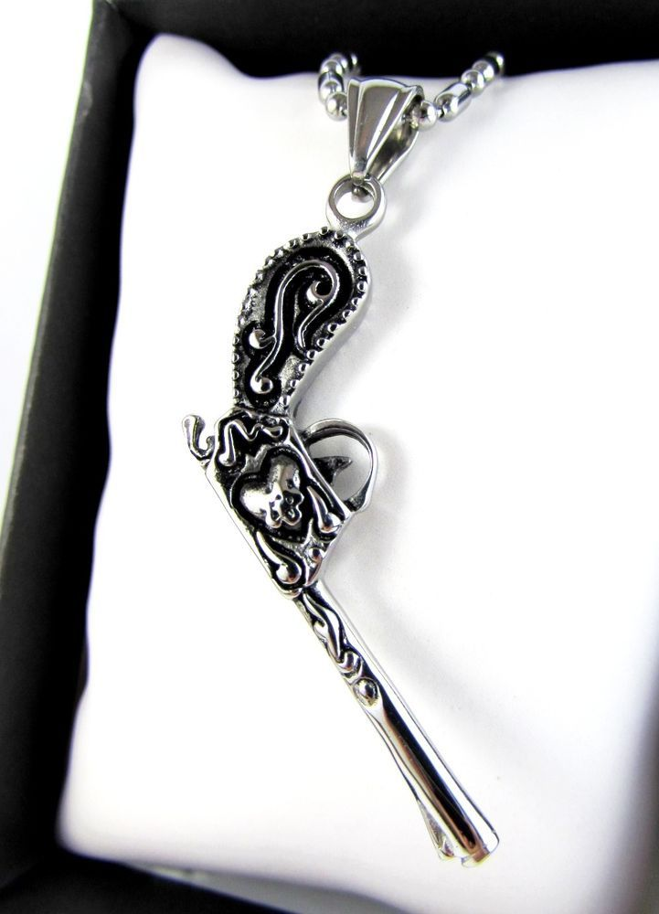 Silver Gun Vintage Solid Stainless Steel Pendant Necklace