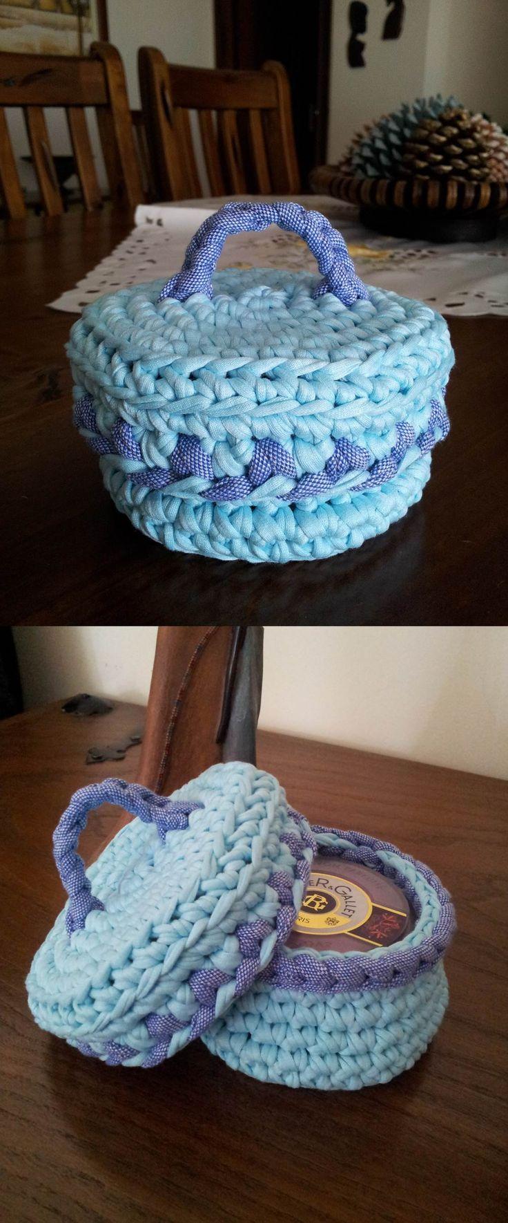 Caixinha de trapilho em ponto crochet